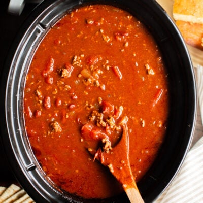 close up of chili made with V8 of vegetable juice