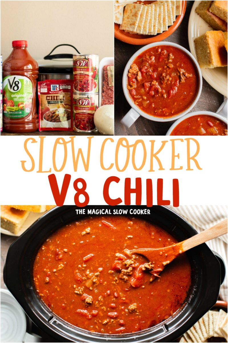 collage of chili photos with text overlay that says: Slow COoker V8 Chili