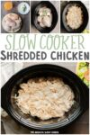 collage of shredded chicken images for pinterest