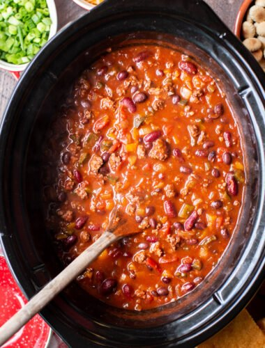 Cooked venison chili in a slow cooker.