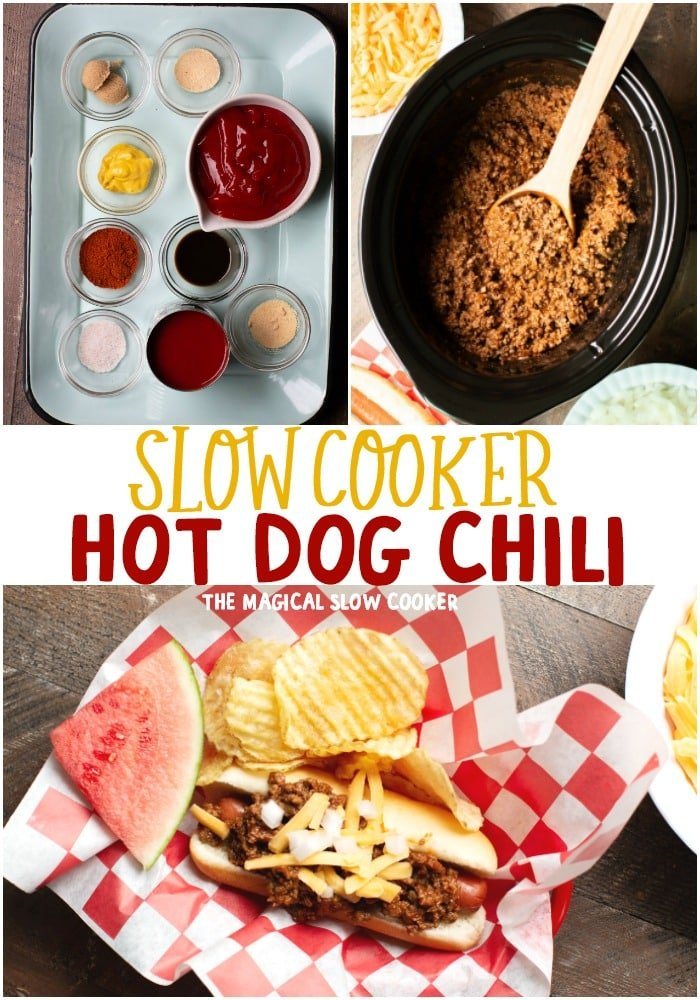 collage of hot dog chili images for pinterest