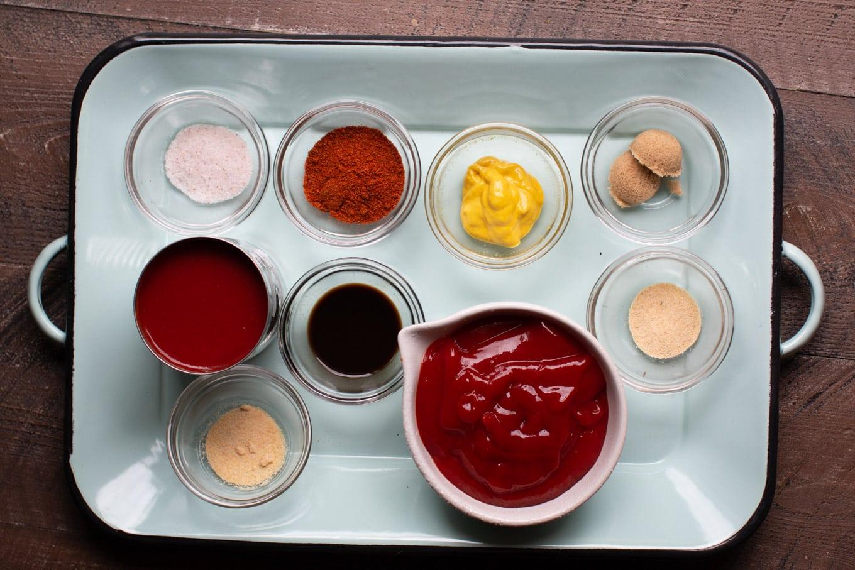 chili, onion, and garlic powder, brown sugar, tomato sauce, Worcestershire, mustard, ketchup.