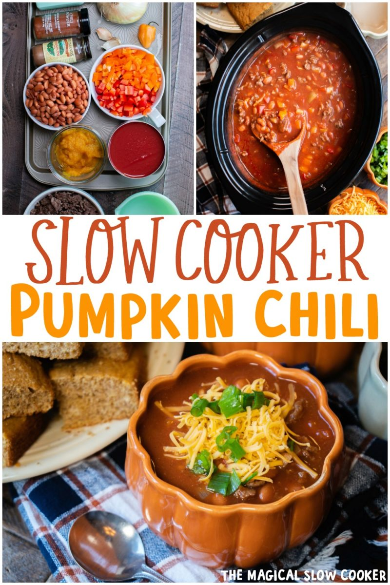 collage of pumpkin chili recipes for pinterest
