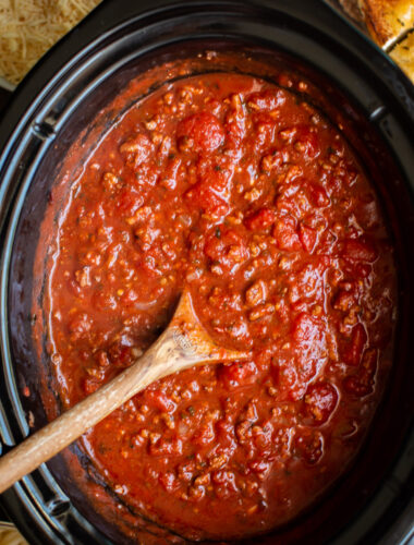 Close up of spaghetti sauce in the slow cooker.