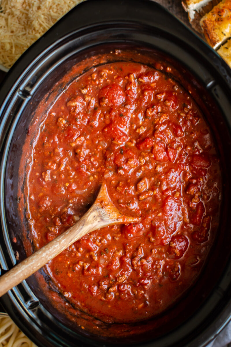 Close up of cooked spaghetti sauce in the slow cooker.