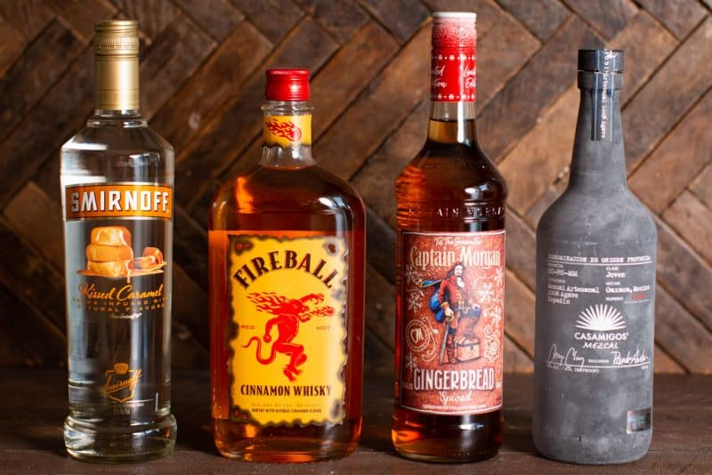 Vodka, whiskey, gingerbread rum and mezcal bottles