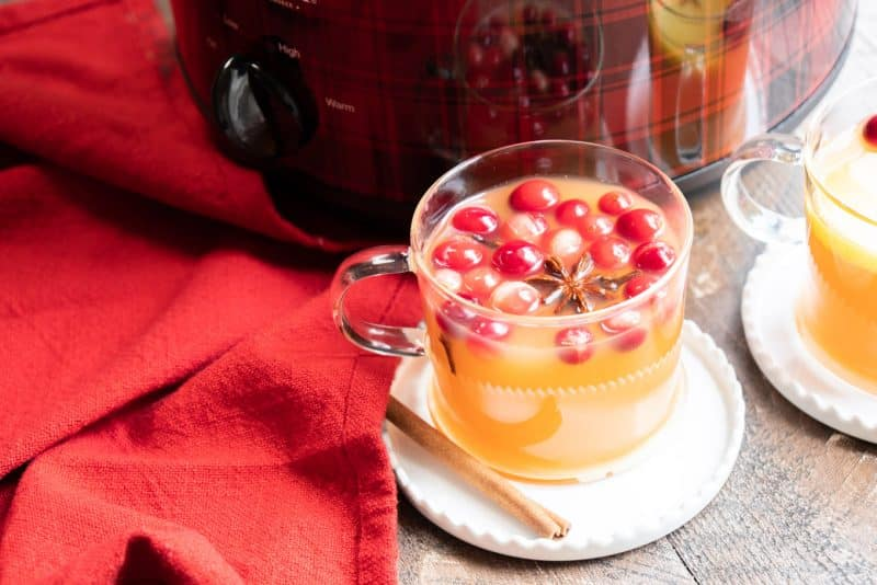 Clear mug of apple cider with plaid slow cooker in the background.
