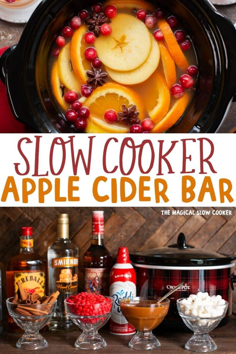 collage of apple cider bar images for pinterest