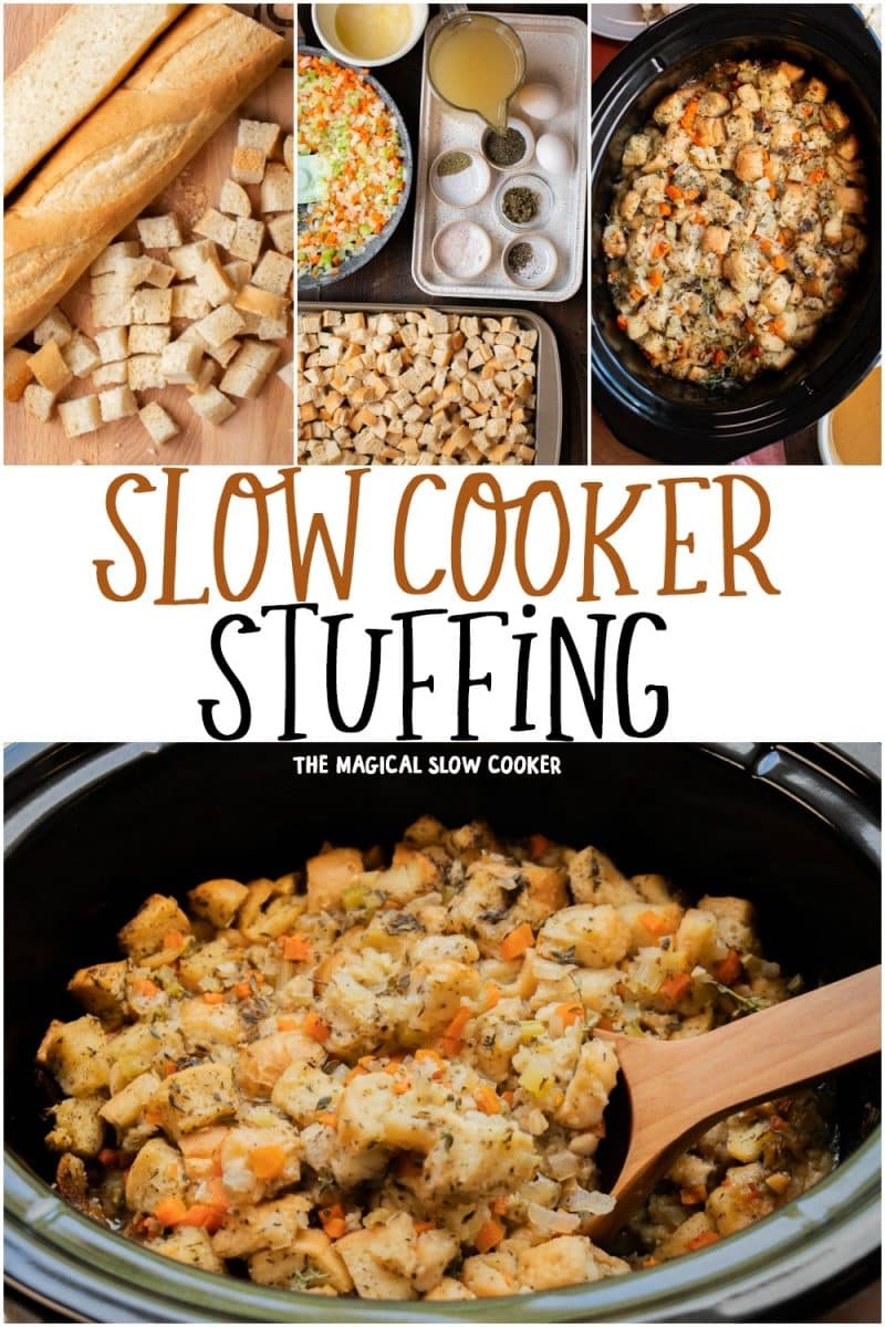 collage of stuffing photos for pinterest