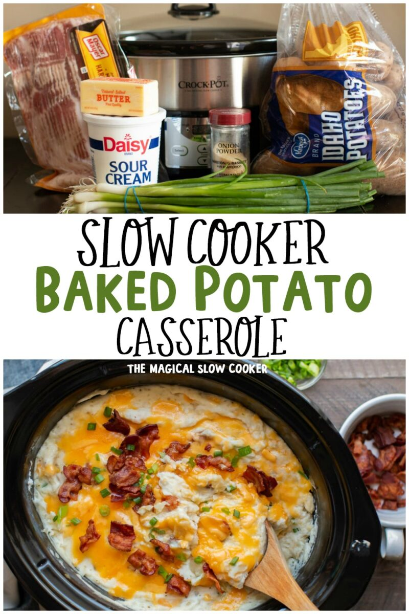 Collage of baked potato casserole for pinterest