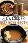 collage of bone broth images with text overlay for pinterest