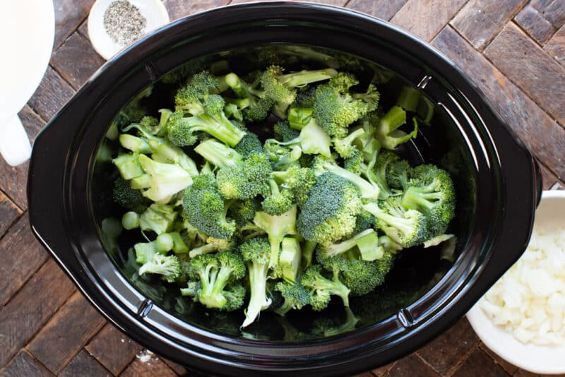 Broccoli cut up in slow cooker