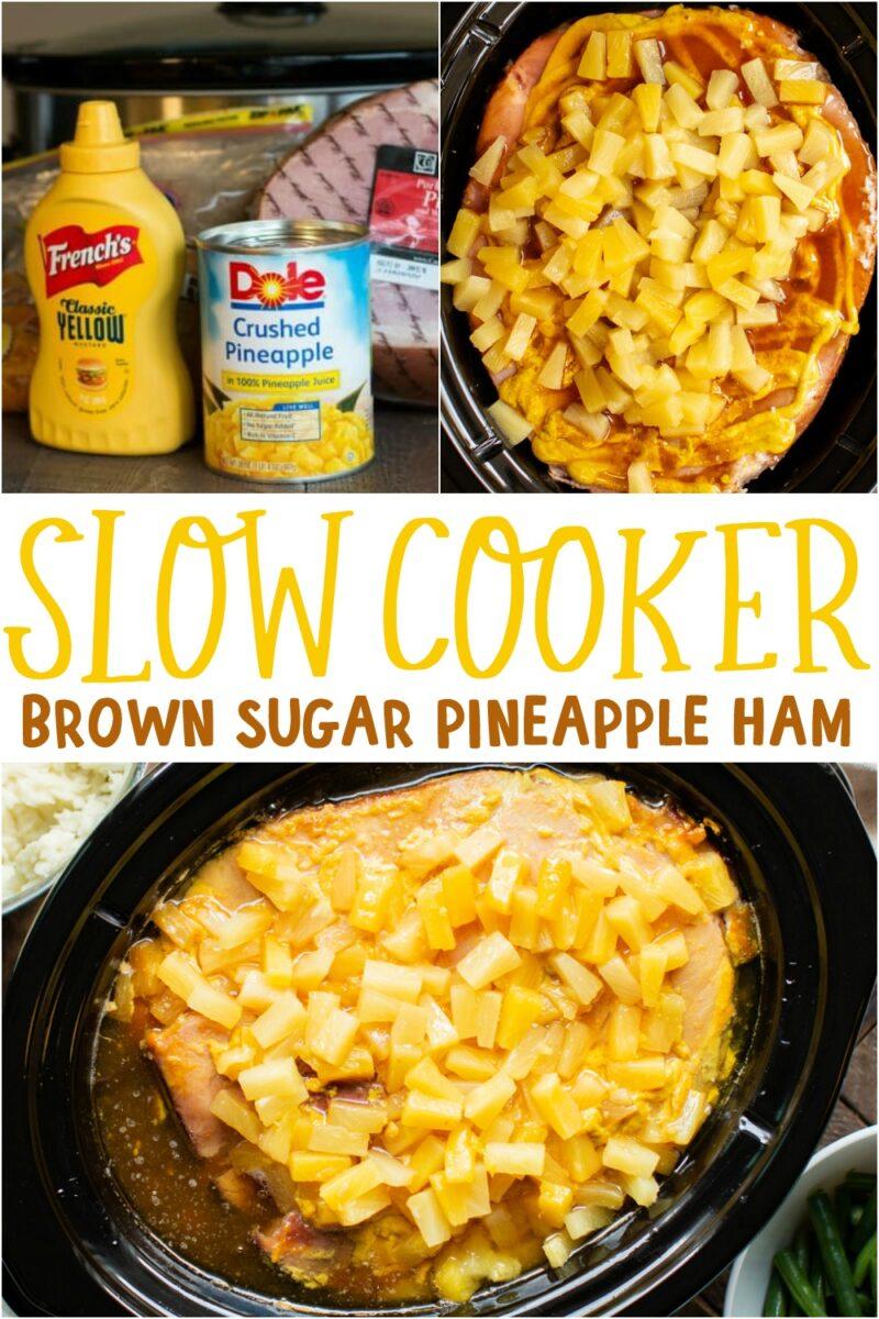 collage of brown sugar ham photos for pinterest