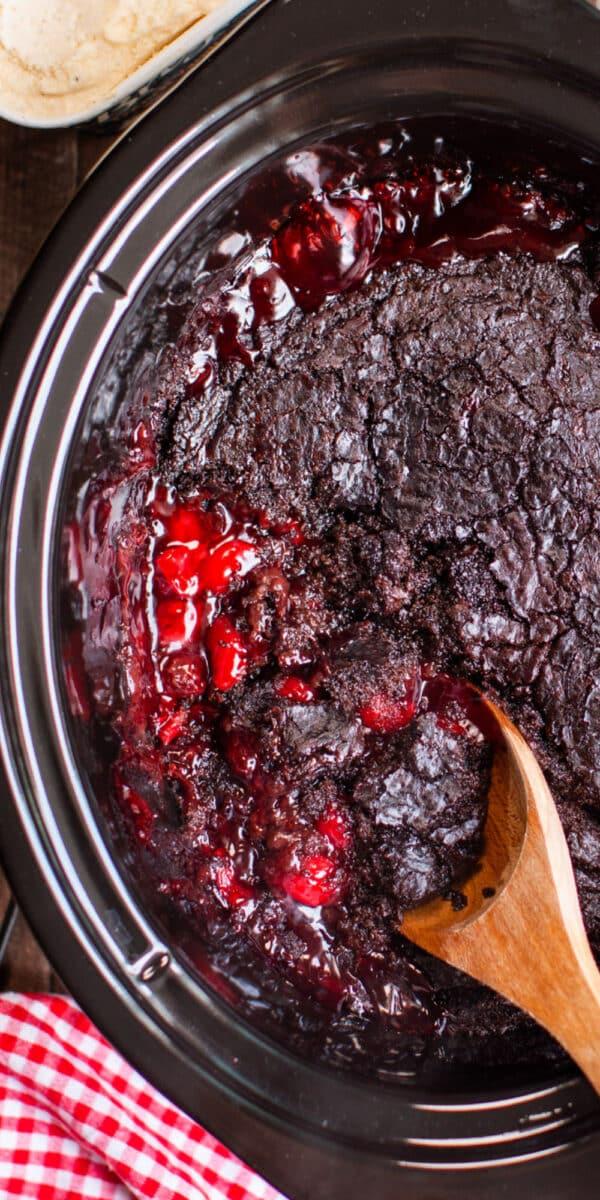 Slow Cooker Chocolate Cherry Dump Cake