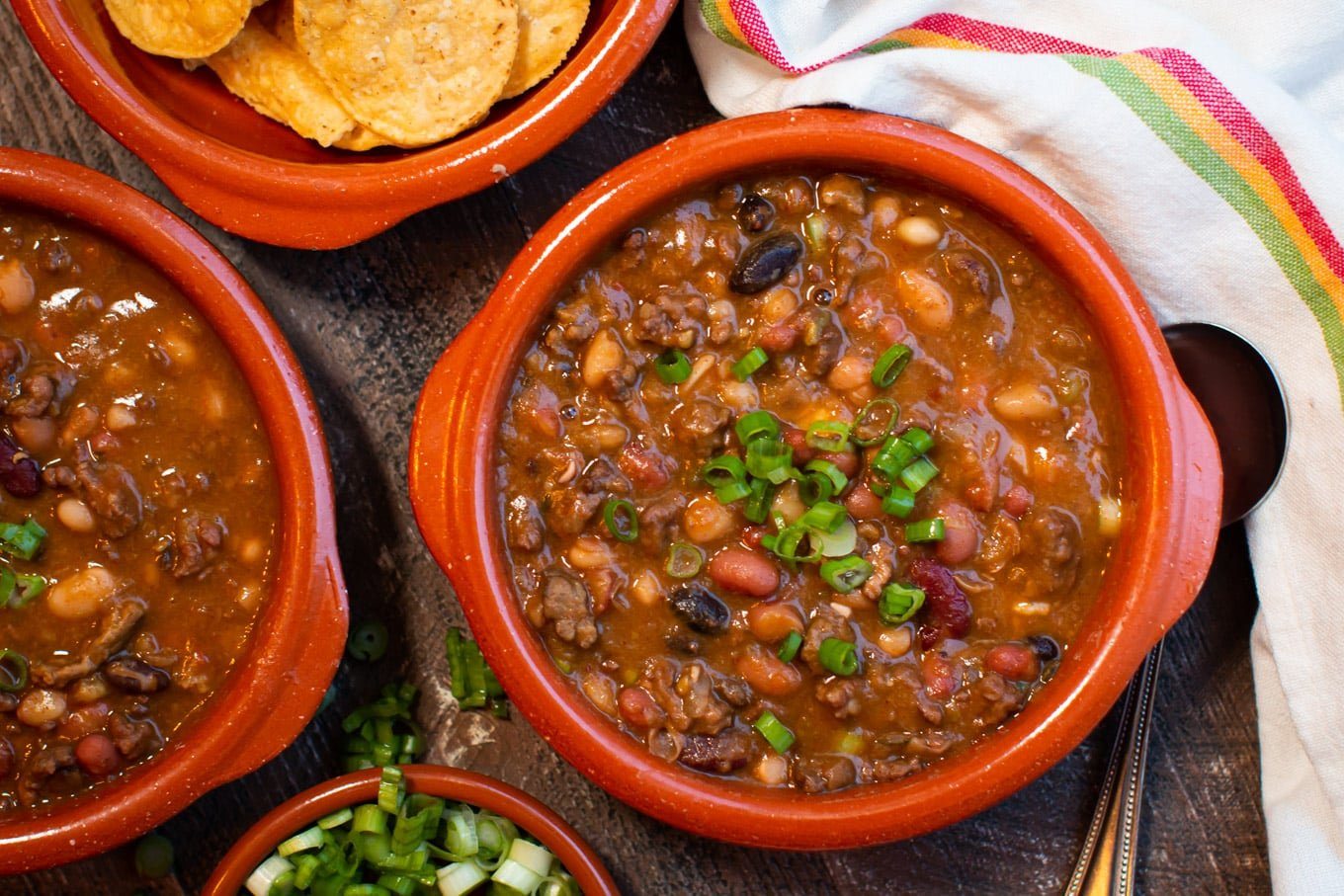 15 bean taco soup in bowls