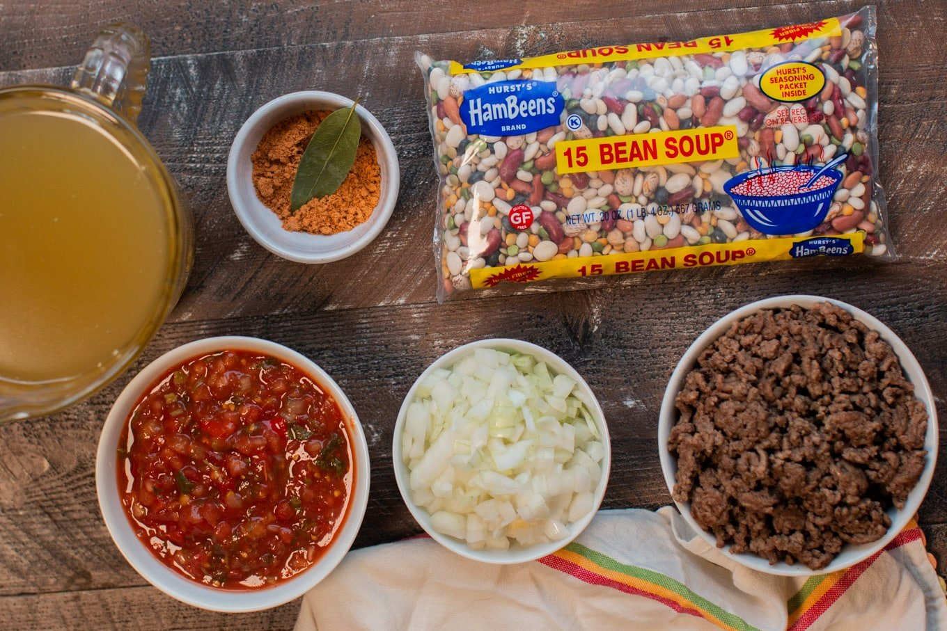 ingredients for taco 15 bean soup