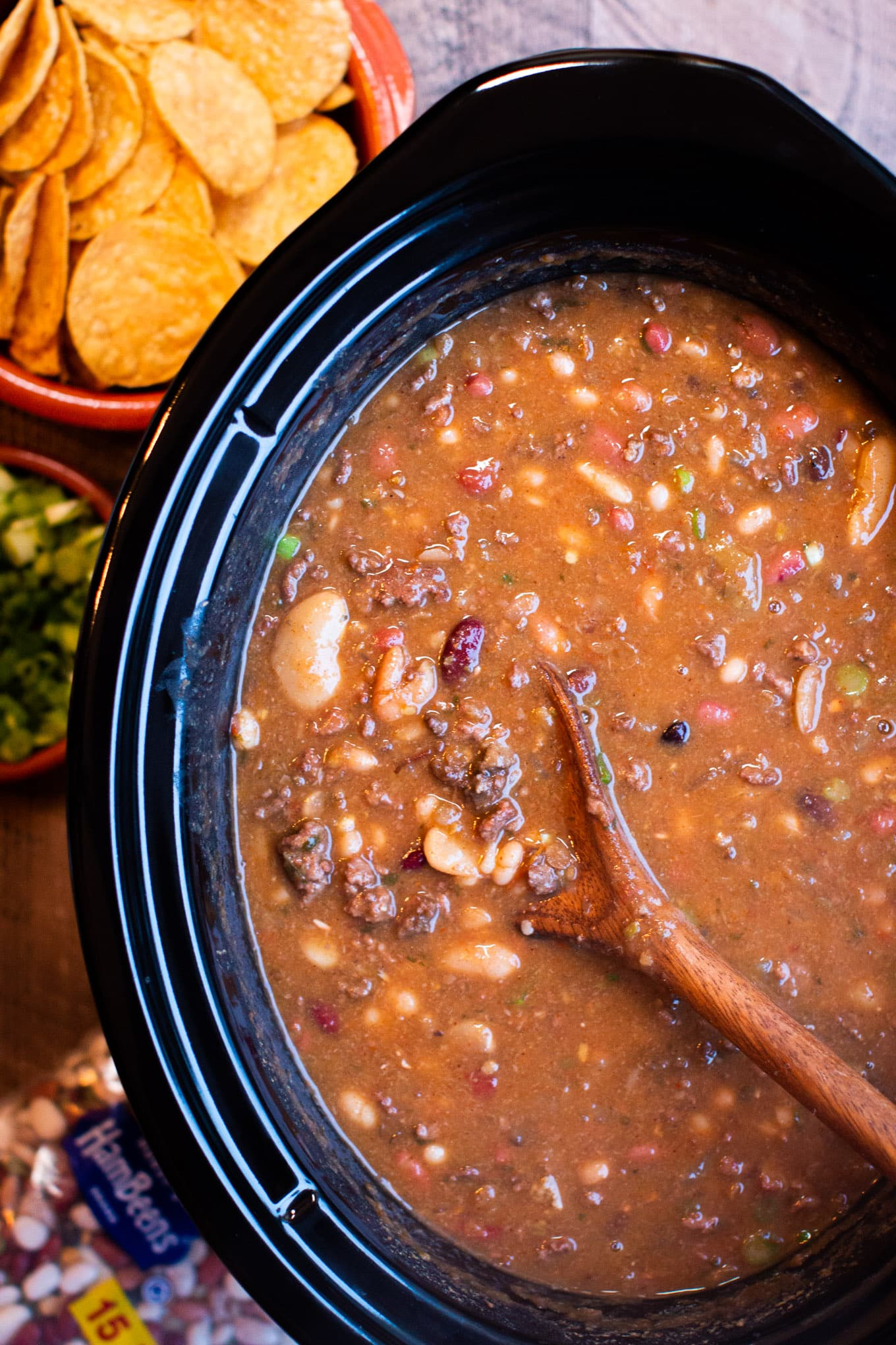 close up of taco 15 bean soup.
