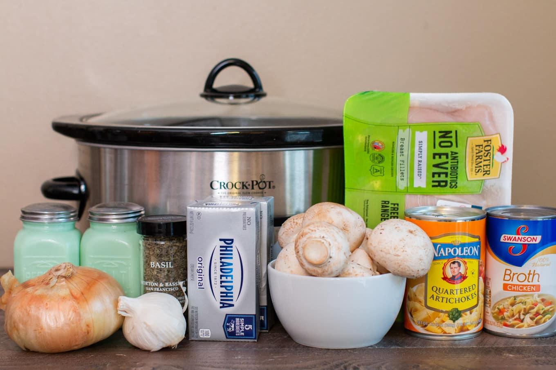 ingredients for artichoke mushroom chicken still in packaging