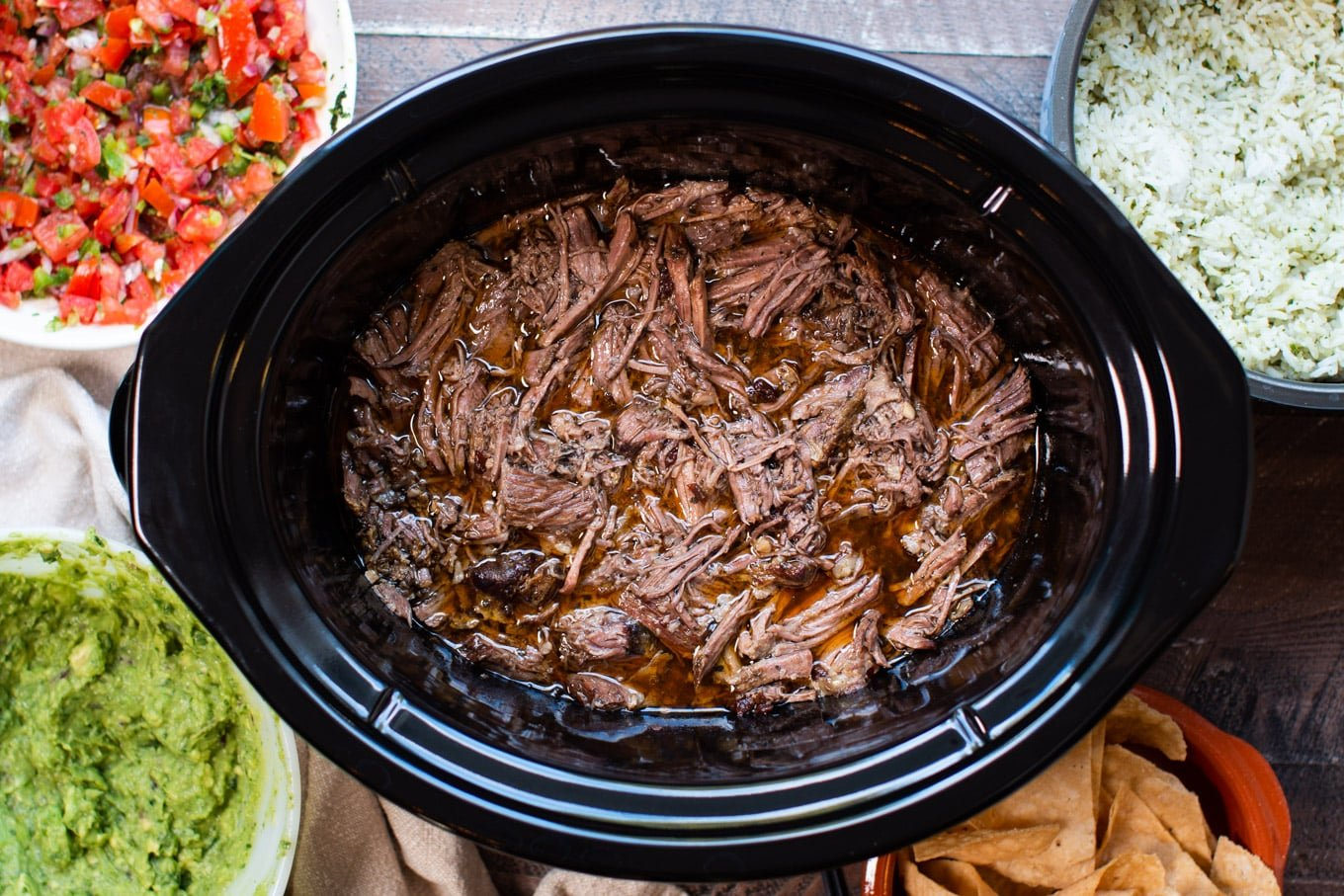 shredded chipotle barbacoa in slow cooker
