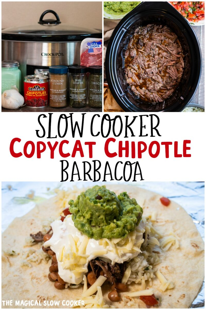 collage of chipotle barbacoa photos for pinterest