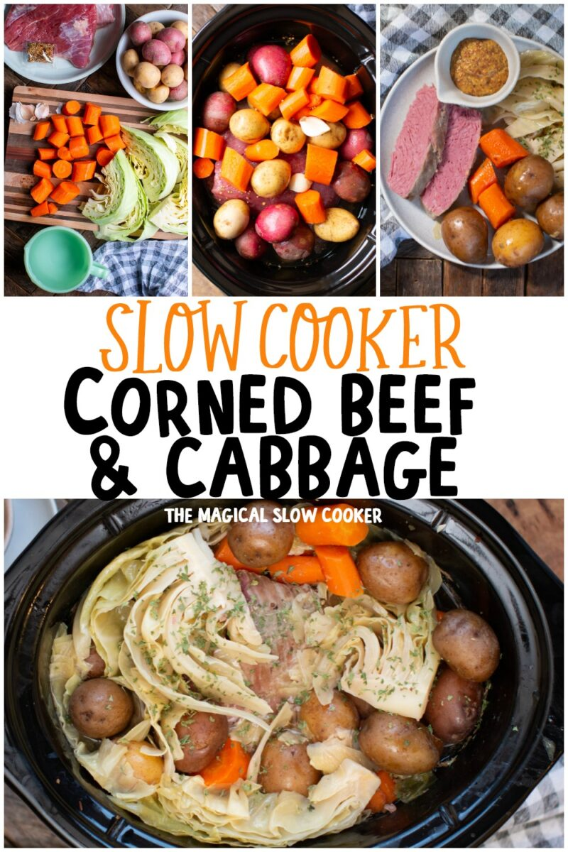 collage of corned beef and cabbage photos for pinterest
