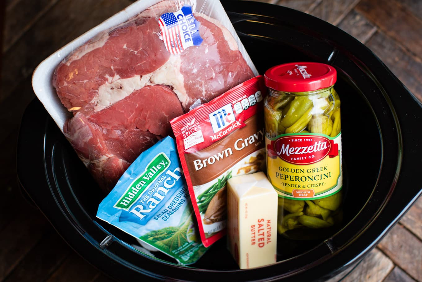 all ingredients still in packaging for Mississippi pot roast