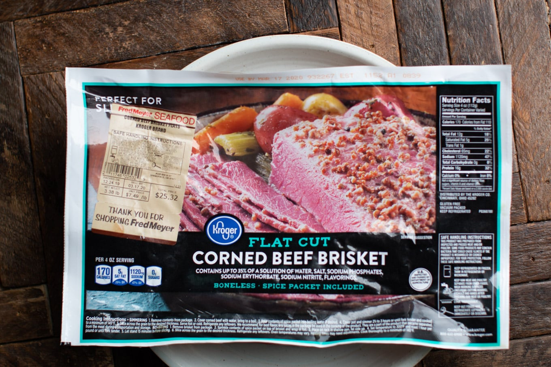 flat cut corned beef in pacakage