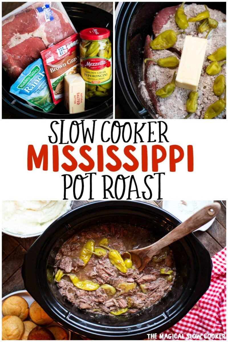 collage of mississippi pot roast photos for pinterest