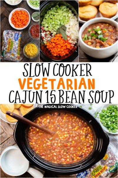 Slow Cooker Vegetarian Cajun 15 Bean Soup