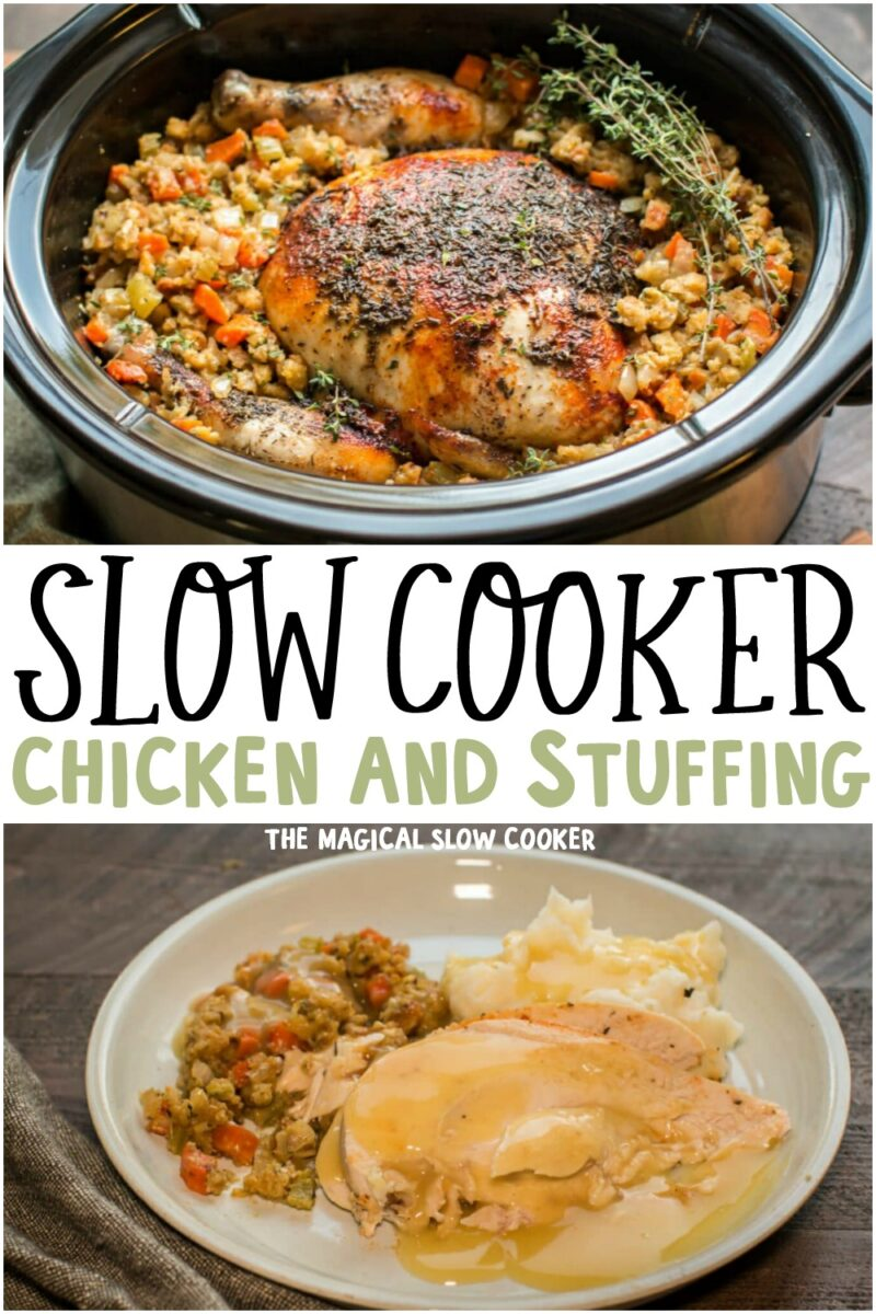 collage of chicken and stuffing photos for pinterest