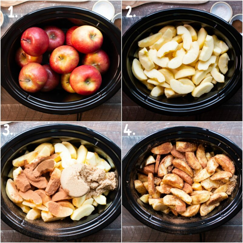 4 photo collage of how to make apple butter. Apples. Sliced and peeled apples. Apples with seasonings. Stirred apples.