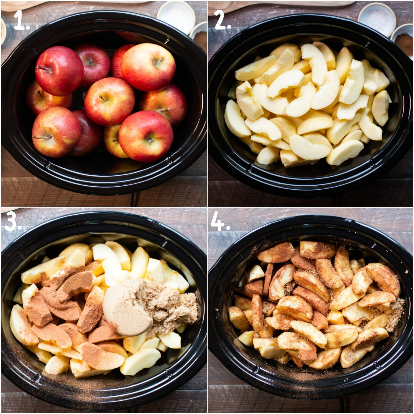 4 photo collage: Apples. Sliced and peeled apples. Apples with seasonings. Stirred apples.