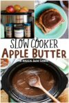 collage of apple butter photos for pinterest
