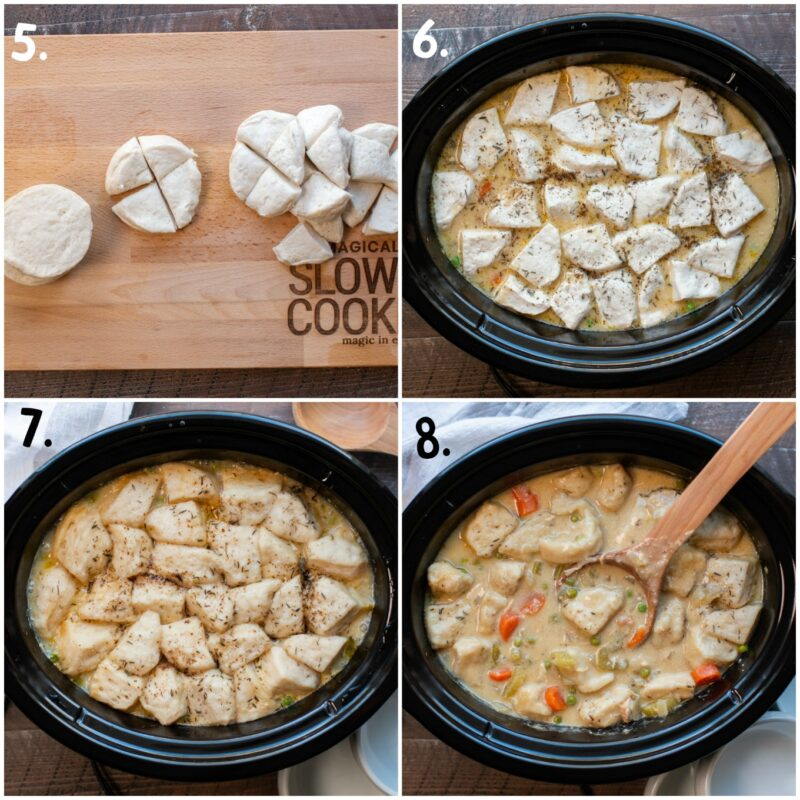 4 picture collage of how to add dumplings to the soup.