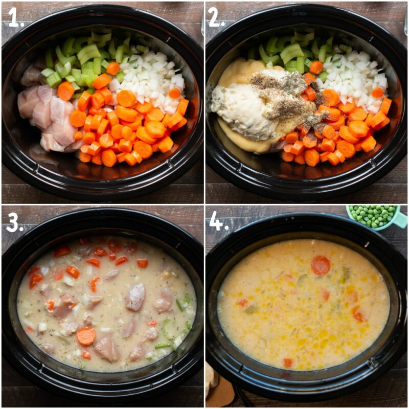 Chicken and Dumplings photo collage. Steps how to add ingredients.