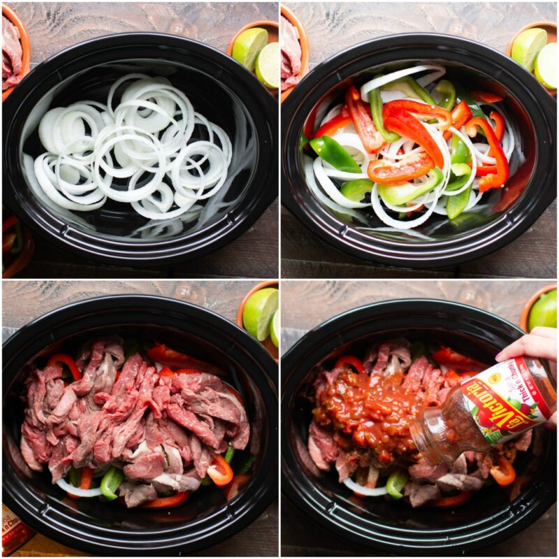 collage of how to make beef fajitas, layer veggies, add meat, add salsa.