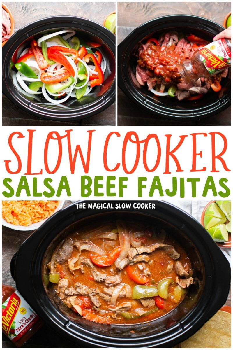 collage of salsa beef fajita photos for pinterest