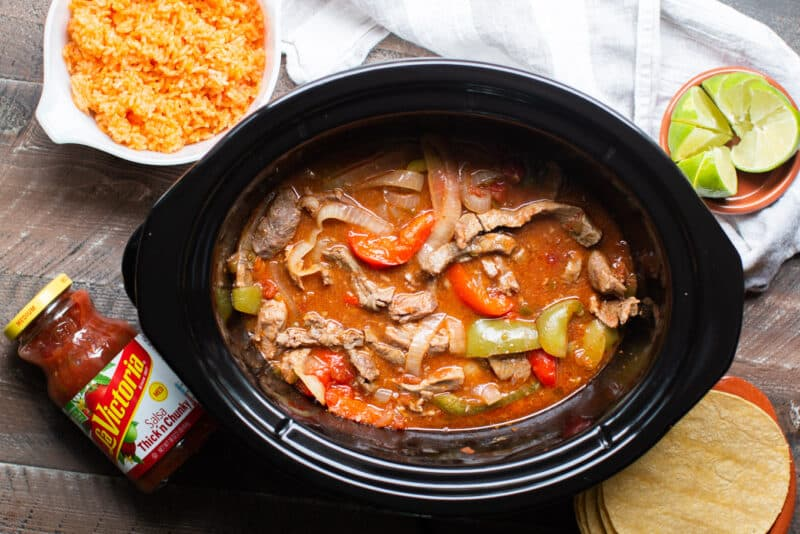finished cooking beef fajitas in slow cooker