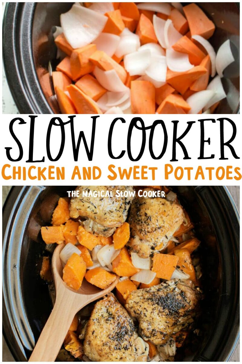 collage of chicken and sweet potatoes with text overlay for pinterest