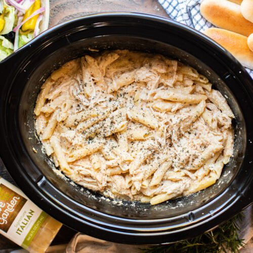Chicken, pasta, in a creamy sauce in the slow cooker