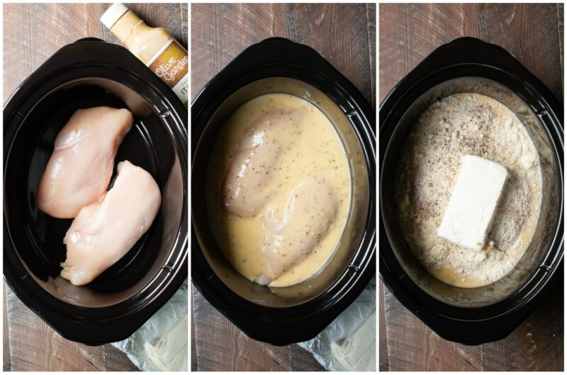 3 photo collage. Chicken in crockpot, chicken with italian dressing, chicken with italian dressing, parmesan and cream cheese