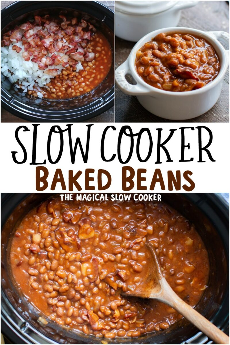 collage of baked bean photos for pinterest