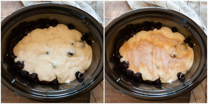 2 photo collage. Left has blackberries and batter in slow cooker. Right has the similar photo but with cinnamon sugar on top.