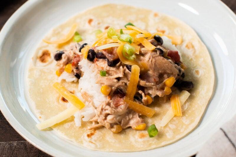 tortilla with fiesta chicken on it.