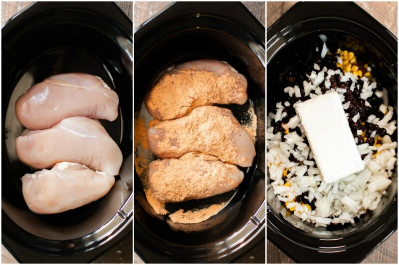 3 images; chicken breasts, chicken breasts with spicy ranch, onion, black beans, corn and cube of cream cheese