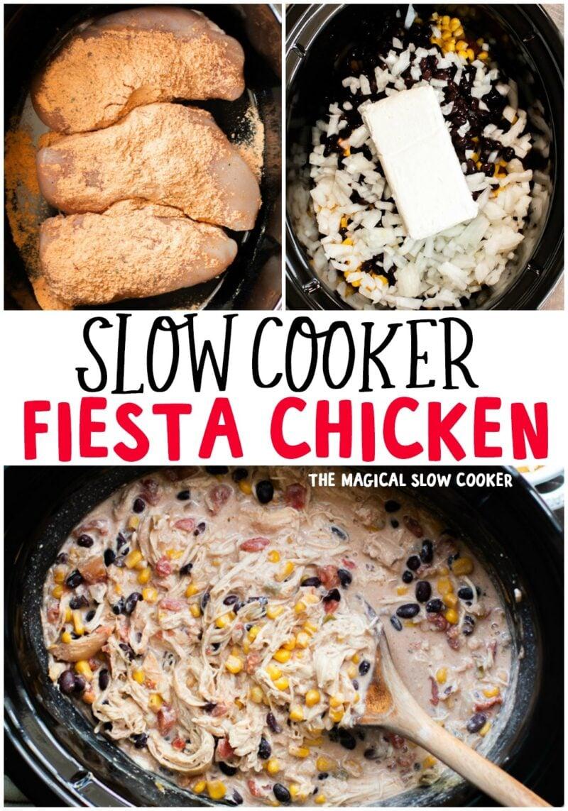 collage of fiesta chicken photos for pinterest