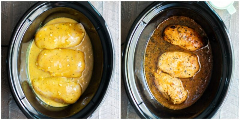 2 photo collage. 3 chicken breasts with honey mustard before and after cooking in the slow cooker.