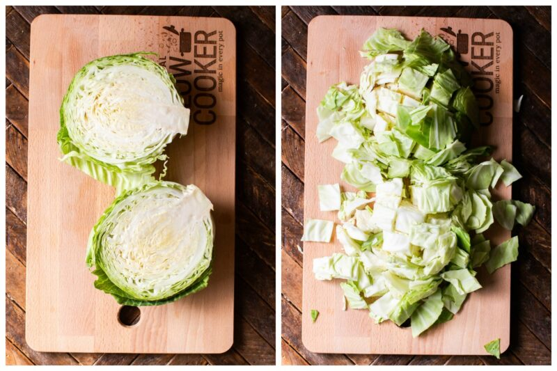 2 photo collage, cabbage halved on a cutting board. Other photo cut cabbage.