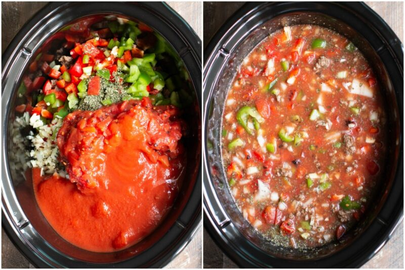 2 photos side by side. Unstirred ingredeints for soup and stirred soup before cooking in the slow cooker.