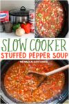 collage of photos of stuffed pepper soup